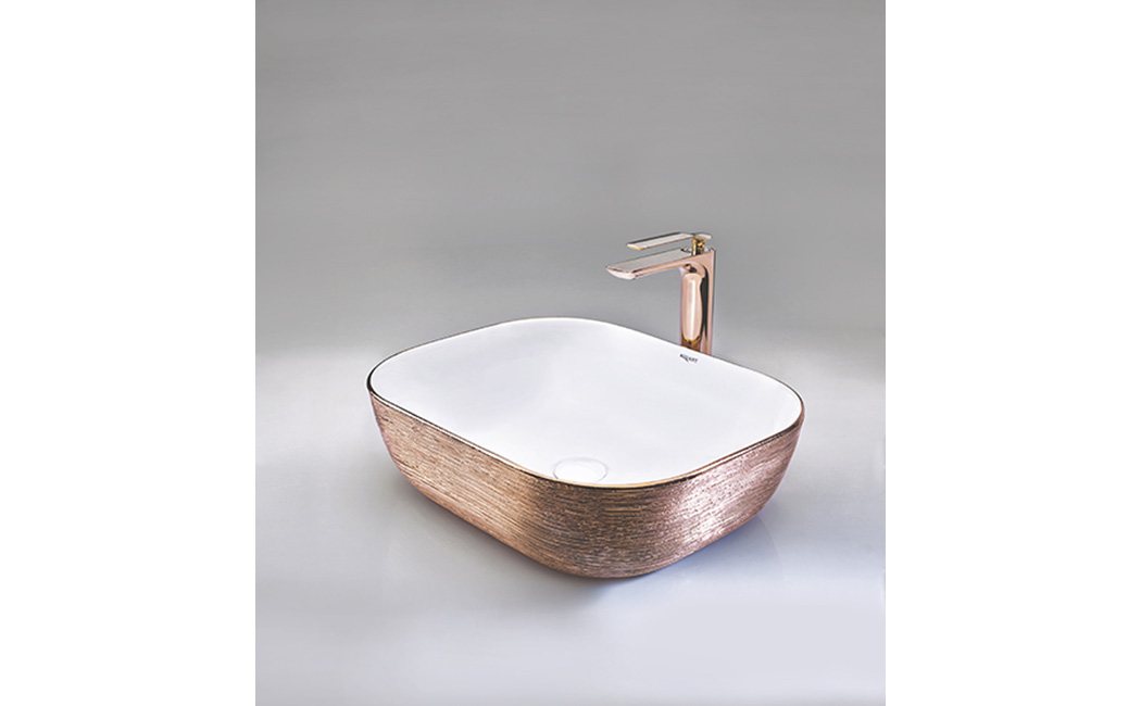 Rose Gold + White Table-Mounted Wash Basin